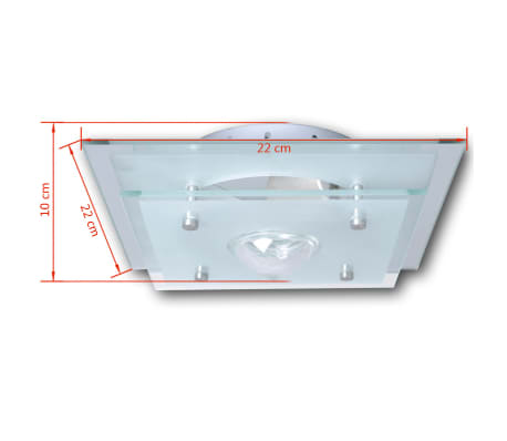 Lubų šviestuvas, stiklinis, kvadratinis 1 x E27, su krištoline detale[5/7]