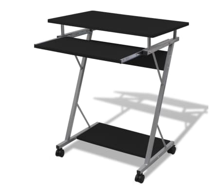 Computer Desk Pull Out Tray Black Furniture Office Student Table[1/5]