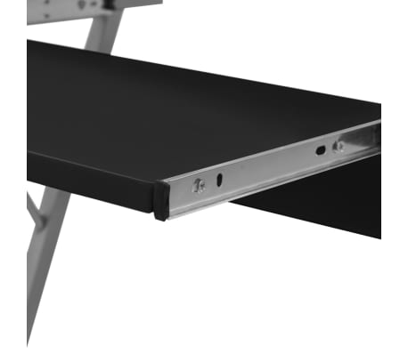 Computer Desk Pull Out Tray Black Furniture Office Student Table[3/5]
