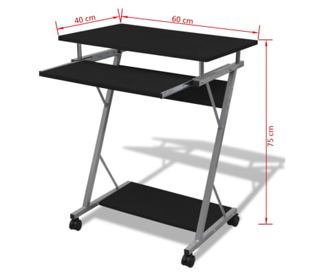 Computer Desk Pull Out Tray Black Furniture Office Student Table[5/5]