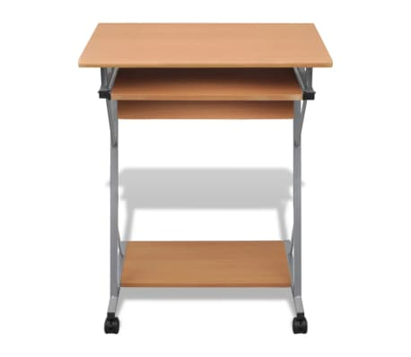 Computer Desk Pull Out Tray Brown Furniture Office Student Table 2 5