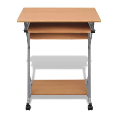 Computer Desk Pull Out Tray Brown Furniture Office Student Table[2/5]