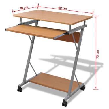 Computer Desk Pull Out Tray Brown Furniture Office Student Table[5/5]