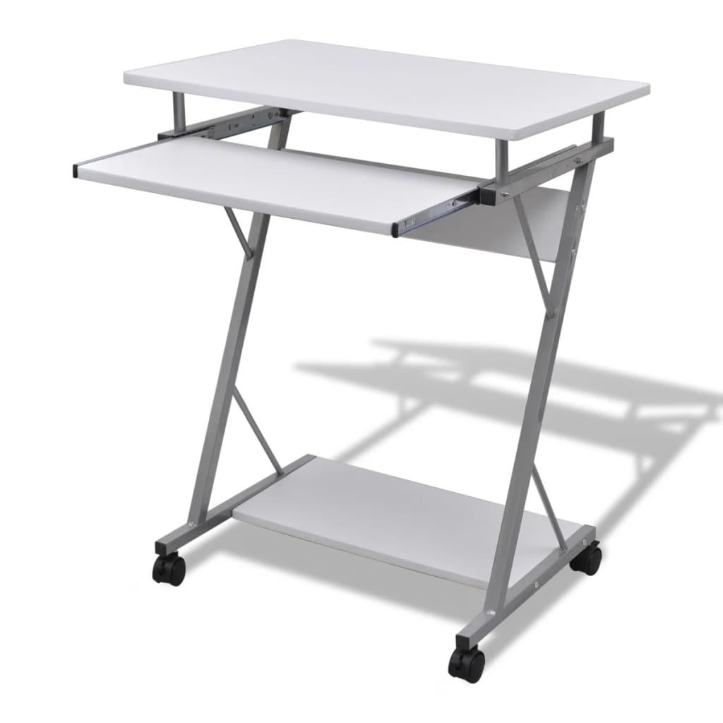 Kompaktní počítačový stůl s vysouvací deskou na klávesnici bílý