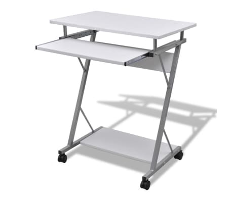 Computer Desk Pull Out Tray White Furniture Office Student Table 1 5
