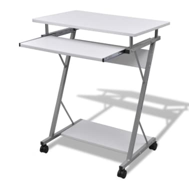 Computer Desk Pull Out Tray White Furniture Office Student Table[1/5]