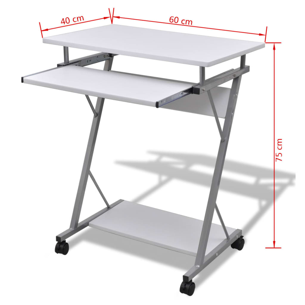 Modern Computer Desk Pull Out Tray Home Furniture Office Student Table 60 X 40cm