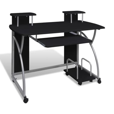 vidaXL Computer Desk with Pull-out Keyboard Tray Black[1/6]