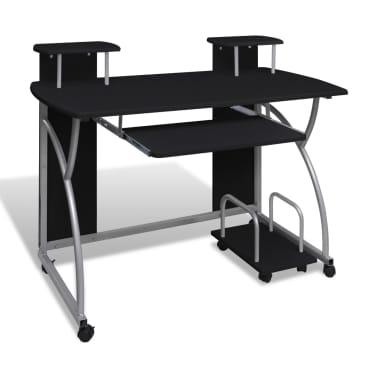 Computertisch PC Tisch Mobiler Computerwagen Bürotisch Rollen schwarz[1/6]