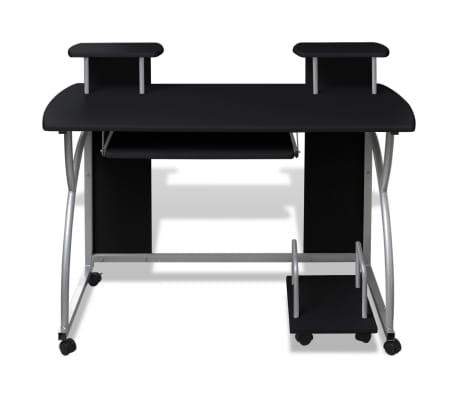 Computertisch PC Tisch Mobiler Computerwagen Bürotisch Rollen schwarz[2/6]