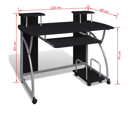 Vidaxl Mobile Computer Desk Pull Out Tray Black Finish Furniture Office 6