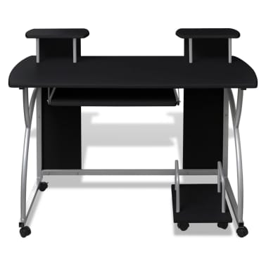 vidaXL Computer Desk with Pull-out Keyboard Tray Black[2/6]