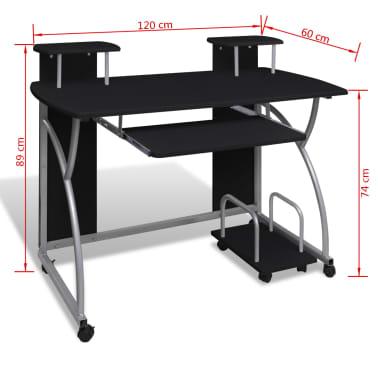 Computertisch PC Tisch Mobiler Computerwagen Bürotisch Rollen schwarz[5/6]