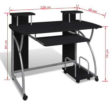 vidaXL Computer Desk with Pull-out Keyboard Tray Black[6/6]