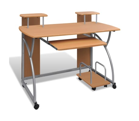 vidaXL Computer Desk with Pull-out Keyboard Tray Brown Cart Game Laptop Table[1/6]