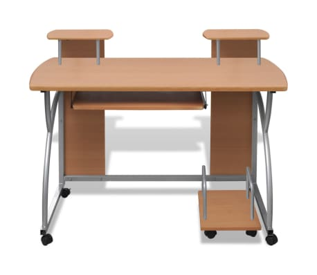 Mobile Computer Desk Pull Out Tray Brown Finish Furniture Office[2/6]