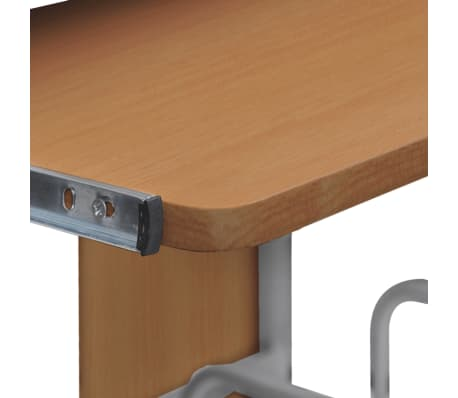 Mobile Computer Desk Pull Out Tray Brown Finish Furniture Office[3/6]