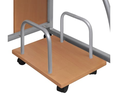 Mobile Computer Desk Pull Out Tray Brown Finish Furniture Office[4/6]