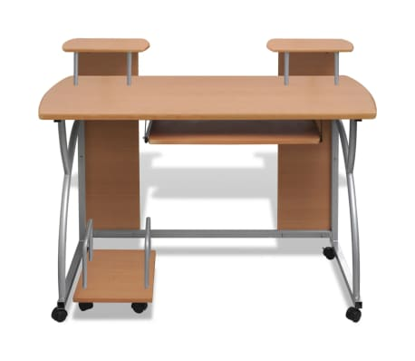 Mobile Computer Desk Pull Out Tray Brown Finish Furniture Office[5/6]