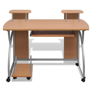 vidaXL Computer Desk with Pull-out Keyboard Tray Brown Cart Game Laptop Table[5/6]