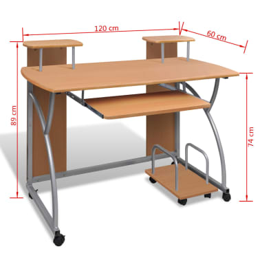 vidaXL Computer Desk with Pull-out Keyboard Tray Brown Cart Game Laptop Table[6/6]