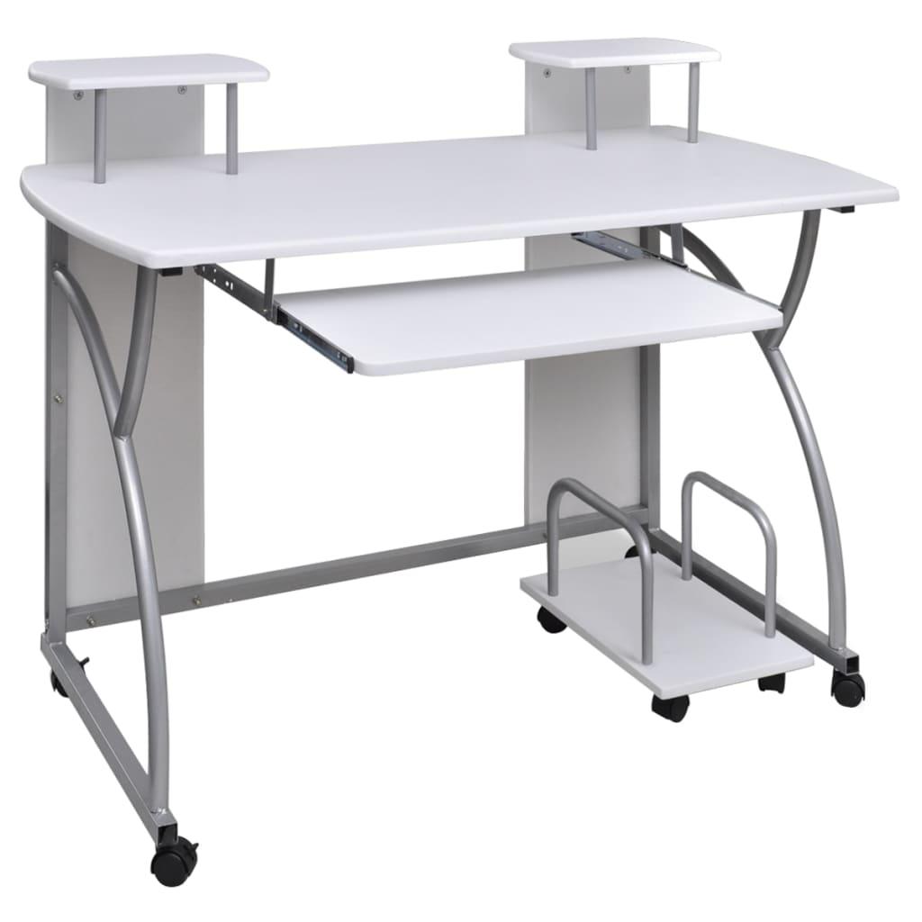 vidaXL Λευκό Φορητό Φοιτητικό Γραφείο με Βάση Υπολογιστή και Συρόμενο Ράφι