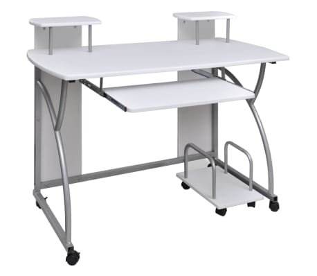 Vidaxl Mobile Computer Desk Pull Out Tray White Finish Furniture Office 1 6