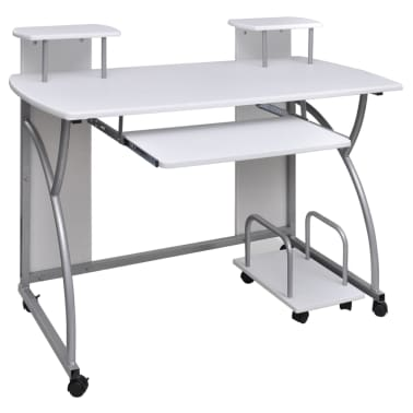 vidaXL Computer Desk with Pull-out Keyboard Tray White Cart Game Laptop Table[1/6]
