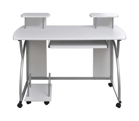 vidaXL Computer Desk with Pull-out Keyboard Tray White Cart Game Laptop Table[2/6]