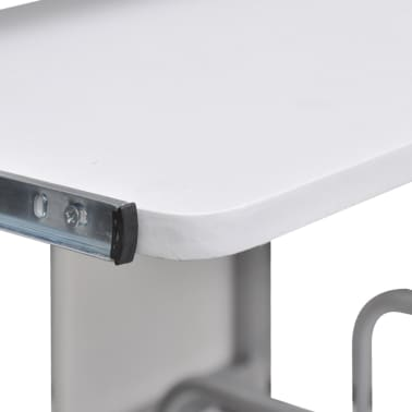 vidaXL Computer Desk with Pull-out Keyboard Tray White Cart Game Laptop Table[3/6]