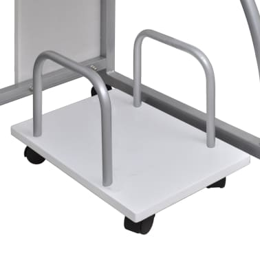 vidaXL Computer Desk with Pull-out Keyboard Tray White Cart Game Laptop Table[4/6]