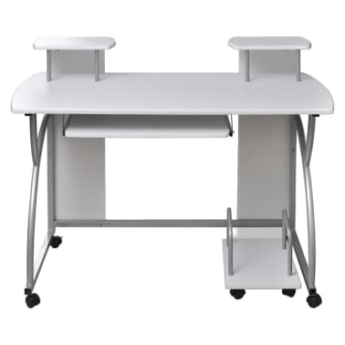 vidaXL Computer Desk with Pull-out Keyboard Tray White Cart Game Laptop Table[5/6]