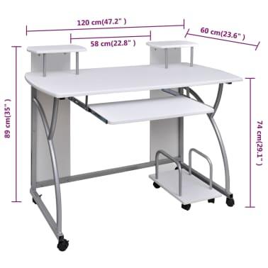 Table de Bureau Blanche pour Ordinateur avec étagère[5/6]