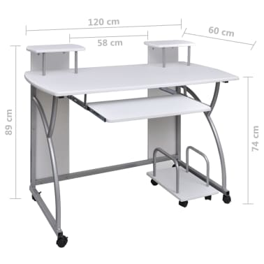 vidaXL Computer Desk with Pull-out Keyboard Tray White Cart Game Laptop Table[6/6]