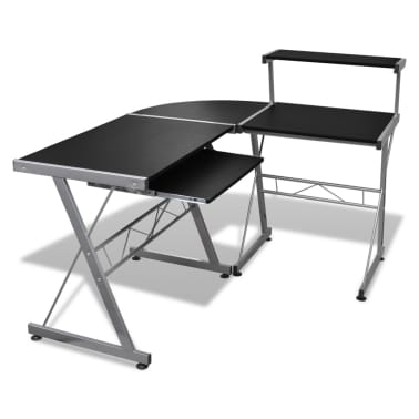 Computer Desk Workstation With Pull Out Keyboard Tray Black[1/6]