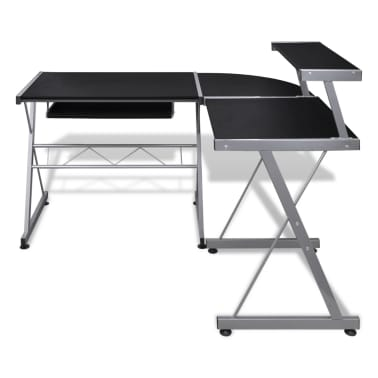 Computer Desk Workstation With Pull Out Keyboard Tray Black[3/6]