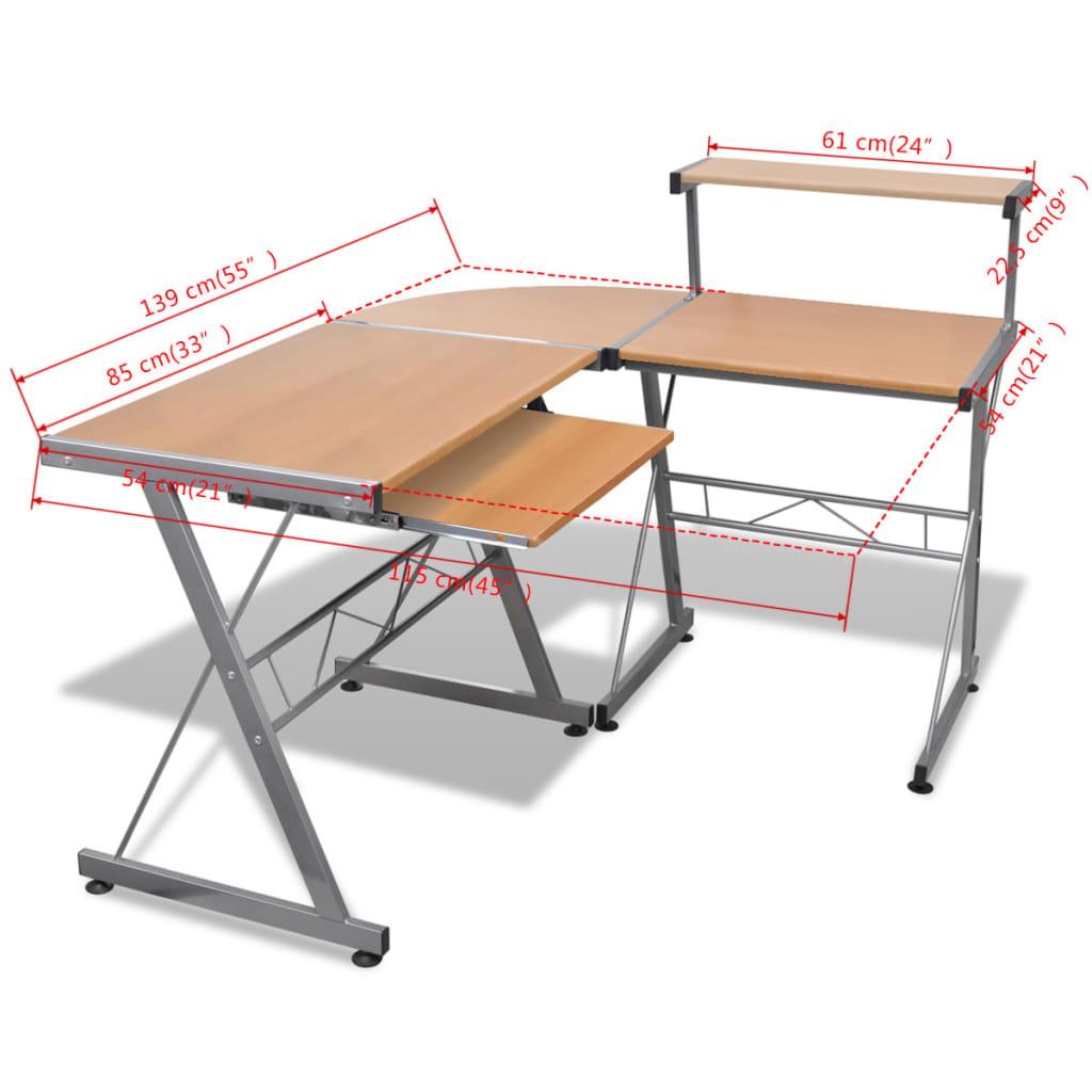 PC stůl s vysouvací deskou na klávesnici ve tvaru L hnědý