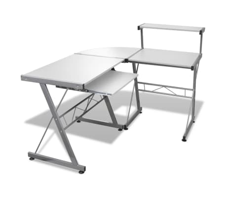 Computer Desk Workstation With Pull Out Keyboard Tray White[1/6]