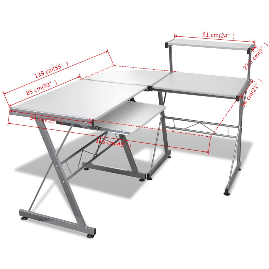 Počítačový stůl s vysouvací deskou pro klávesnici tvar L bílý