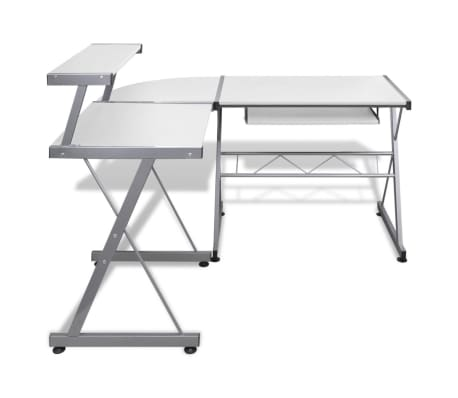 Computer Desk Workstation With Pull Out Keyboard Tray White[4/6]