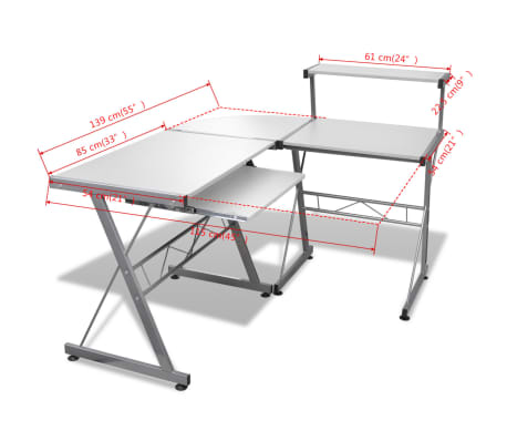 Computer Desk Workstation With Pull Out Keyboard Tray White[6/6]