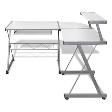 Computer Desk Workstation With Pull Out Keyboard Tray White[3/6]