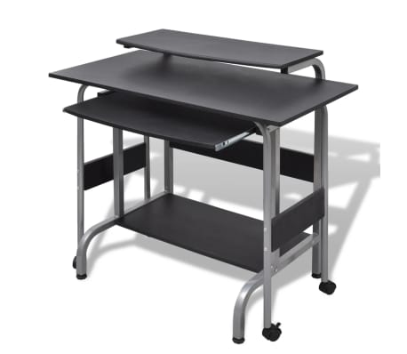 Computer Desk Adjustable Workstation Black[2/6]