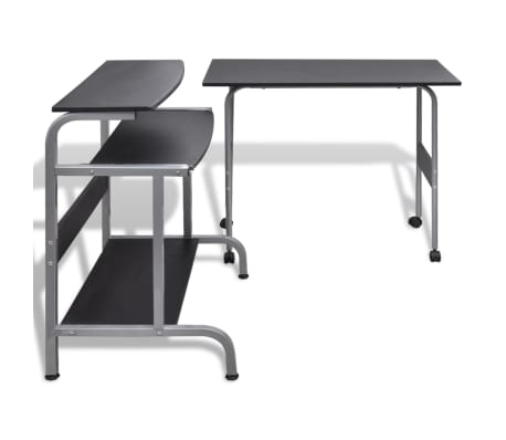 Computer Desk Adjustable Workstation Black[4/6]