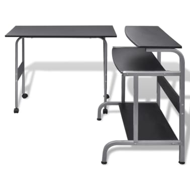 Computer Desk Adjustable Workstation Black[3/6]