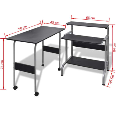 Computer Desk Adjustable Workstation Black[6/6]