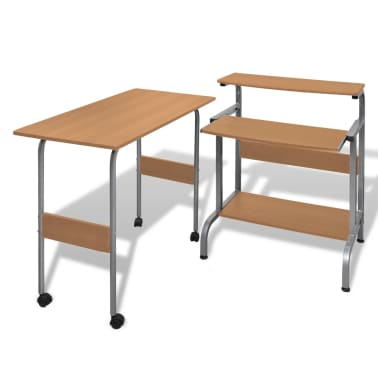 Computer Desk Adjustable Workstation Brown[1/6]