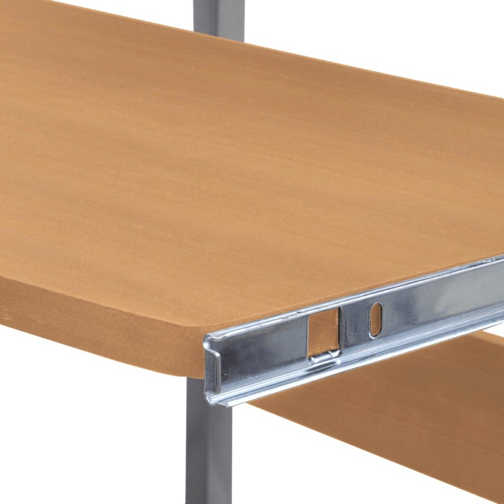 2dílný počítačový stůl s vysouvací deskou pro klávesnici hnědý