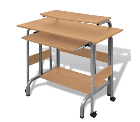 Computer Desk Adjustable Workstation Brown[4/6]