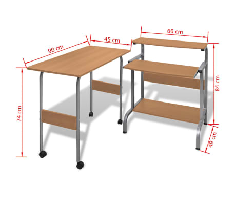 Computer Desk Adjustable Workstation Brown[6/6]